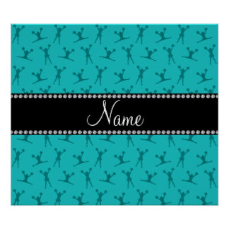 Personalized name turquoise cheerleader pattern poster