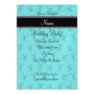 Personalized name turquoise cheerleader pattern magnetic invitations