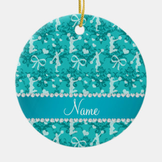 Personalized name turquoise cheerleading damask ceramic ornament
