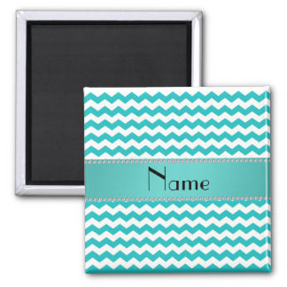 Personalized name turquoise chevrons 2 inch square magnet