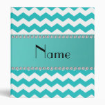 Personalized name turquoise chevrons 3 ring binder