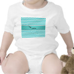 Personalized name turquoise chevrons baby bodysuit