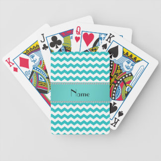 Personalized name turquoise chevrons bicycle playing cards