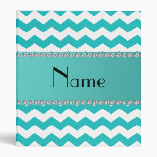 Personalized name turquoise chevrons binder