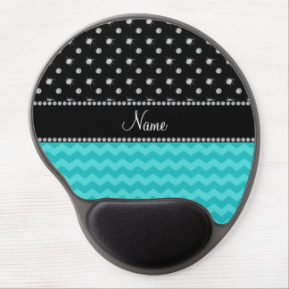 Personalized name turquoise chevrons black diamond gel mouse mats