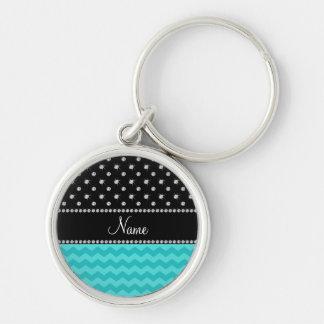 Personalized name turquoise chevrons black diamond keychains