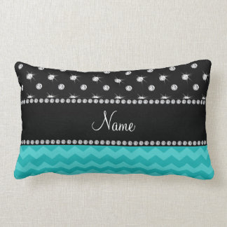 Personalized name turquoise chevrons black diamond lumbar pillow