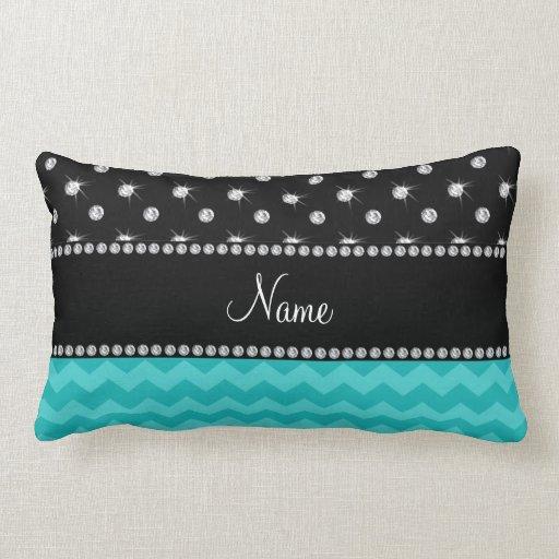 Personalized name turquoise chevrons black diamond throw pillow