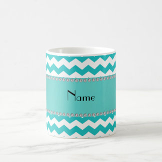 Personalized name turquoise chevrons coffee mug
