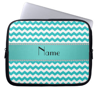 Personalized name turquoise chevrons laptop sleeve
