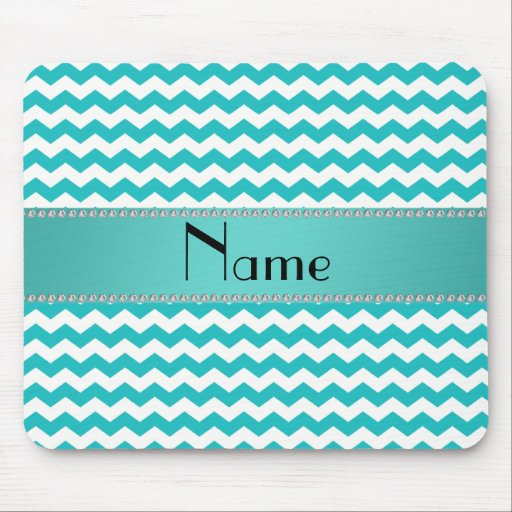 Personalized name turquoise chevrons mousepads