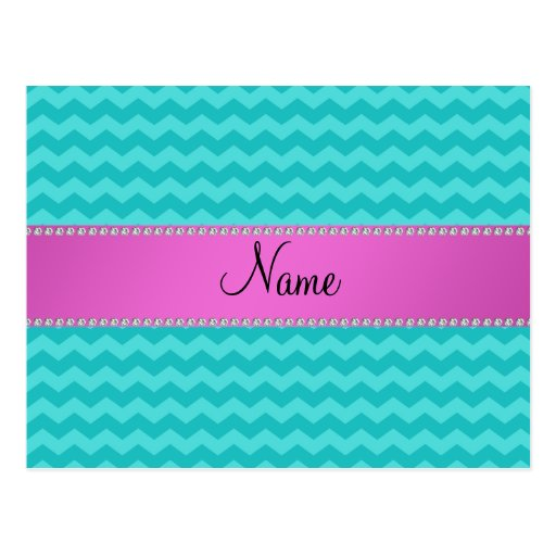 Personalized name turquoise chevrons pink diamonds postcard