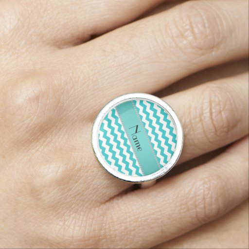 Personalized name turquoise chevrons photo ring