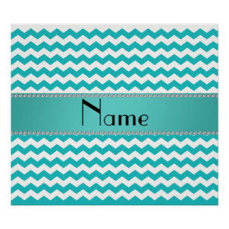 Personalized name turquoise chevrons print