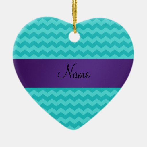 Personalized name turquoise chevrons purple stripe christmas ornament