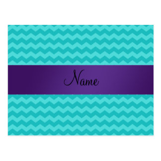 Personalized name turquoise chevrons purple stripe postcard