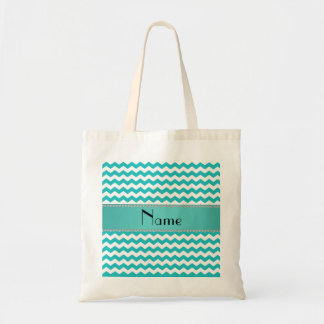 Personalized name turquoise chevrons tote bag