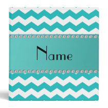 Personalized name turquoise chevrons vinyl binders