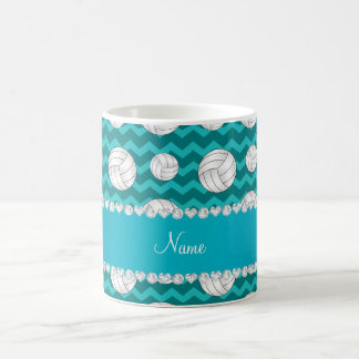 Personalized name turquoise chevrons volleyballs coffee mug