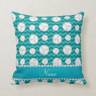 Personalized name turquoise chevrons volleyballs throw pillow