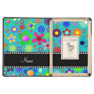 Personalized name turquoise colorful retro flowers iPad air case