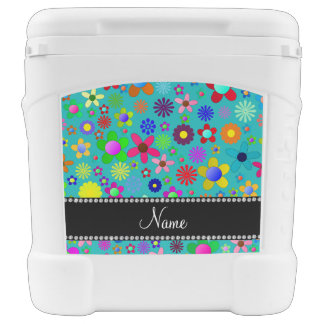 Personalized name turquoise colorful retro flowers igloo rolling cooler