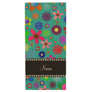 Personalized name turquoise colorful retro flowers wood USB 2.0 flash drive