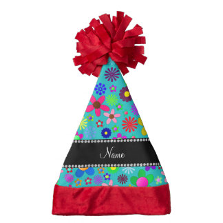 Personalized name turquoise colorful retro flowers santa hat