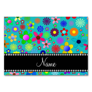 Personalized name turquoise colorful retro flowers table cards