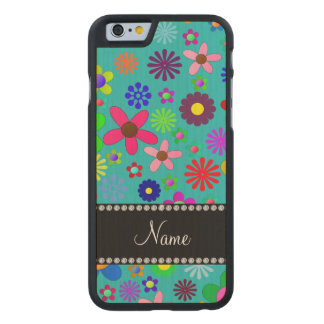 Personalized name turquoise colorful retro flowers carved® maple iPhone 6 case