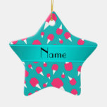 Personalized name turquoise cotton candy christmas tree ornaments