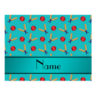 Personalized name turquoise cricket pattern postcards