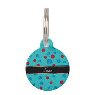 Personalized name turquoise crochet pattern pet tags