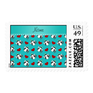 Personalized name turquoise cupid penguins hearts postage