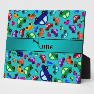 Personalized name turquoise cute car pattern plaques