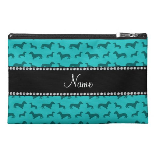 Personalized name turquoise dachshunds travel accessories bag