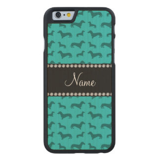 Personalized name turquoise dachshunds carved® maple iPhone 6 case