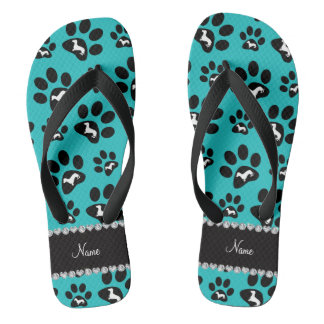 Personalized name turquoise dachshunds dog paws flip flops