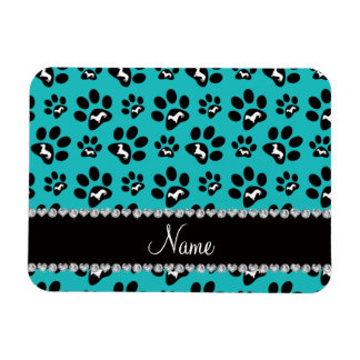 Personalized name turquoise dachshunds dog paws magnet