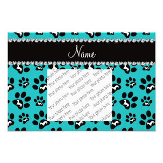 Personalized name turquoise dachshunds dog paws photo print