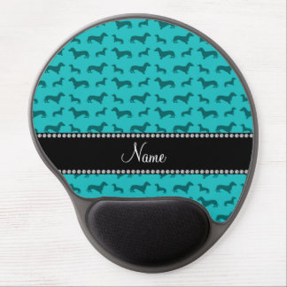 Personalized name turquoise dachshunds gel mouse pad