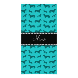 Personalized name turquoise dachshunds photo greeting card