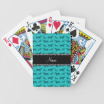 Personalized name turquoise dachshunds deck of cards
