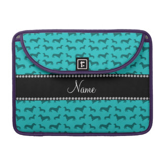 Personalized name turquoise dachshunds sleeve for MacBook pro