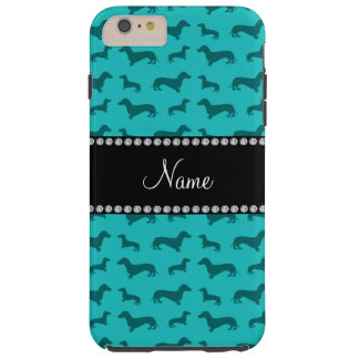 Personalized name turquoise dachshunds tough iPhone 6 plus case
