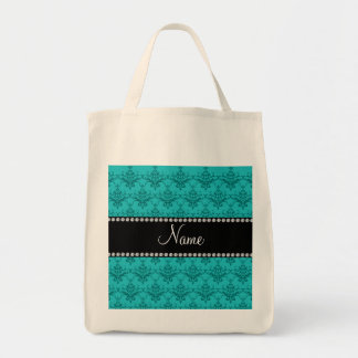 Personalized name Turquoise damask Tote Bag
