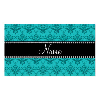 Personalized name Turquoise damask Business Card