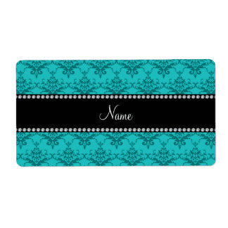 Personalized name Turquoise damask Personalized Shipping Labels