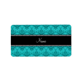 Personalized name Turquoise damask Personalized Address Labels