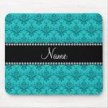 Personalized name Turquoise damask Mousepad